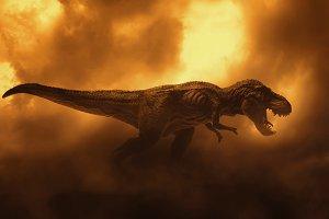 dinosaurs t rex on fire