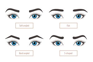 6 basic eyebrow shapes. Captions.