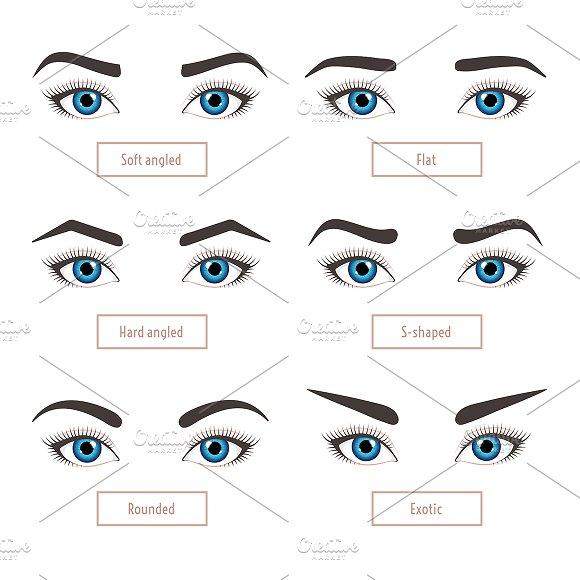 6 Basic Eyebrow Shapes Captions Graphics Creative Market