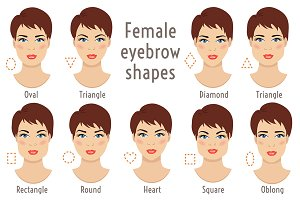 Eyebrow shapes. Face types.