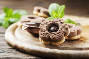 Homemade sweet cookie with chocolate