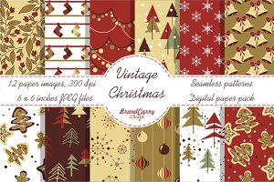 Vintage Christmas digital paper