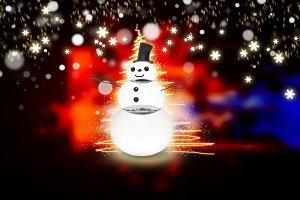 snowman with light star