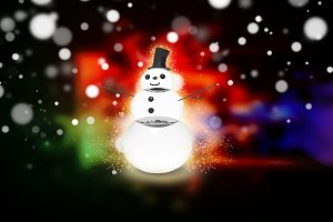 snowman with light star