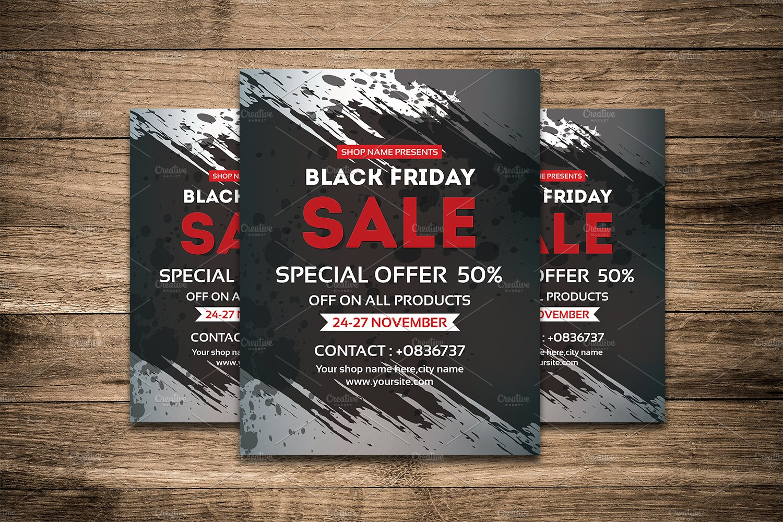 black friday sale flyer v438 flyer templates creative market. Black Bedroom Furniture Sets. Home Design Ideas