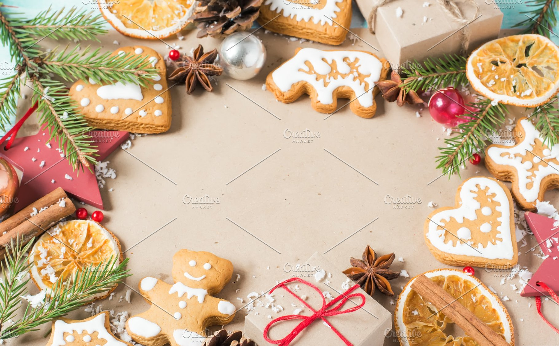 Background Gifts Fir Branches Cones And Christmas Cookies