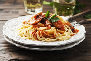 Italian spaghetti with prawns