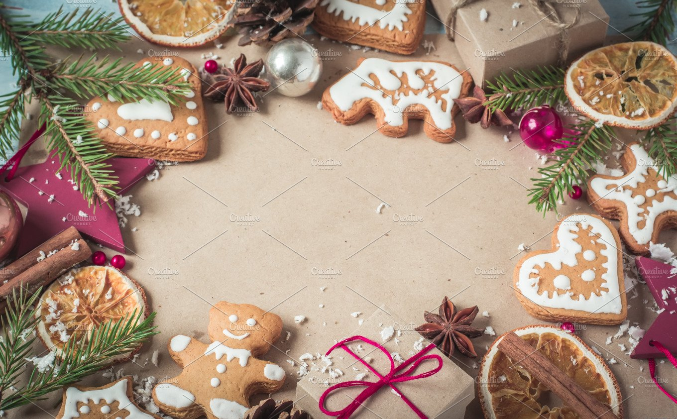 Background gifts, fir branches and Christmas cookies ~ Holiday ...