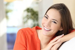 Beauty woman with white teeth
