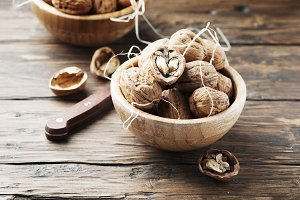 Healthy walnuts on the wooden table