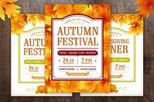 Autumn, harvest, thanksgiving flyer.