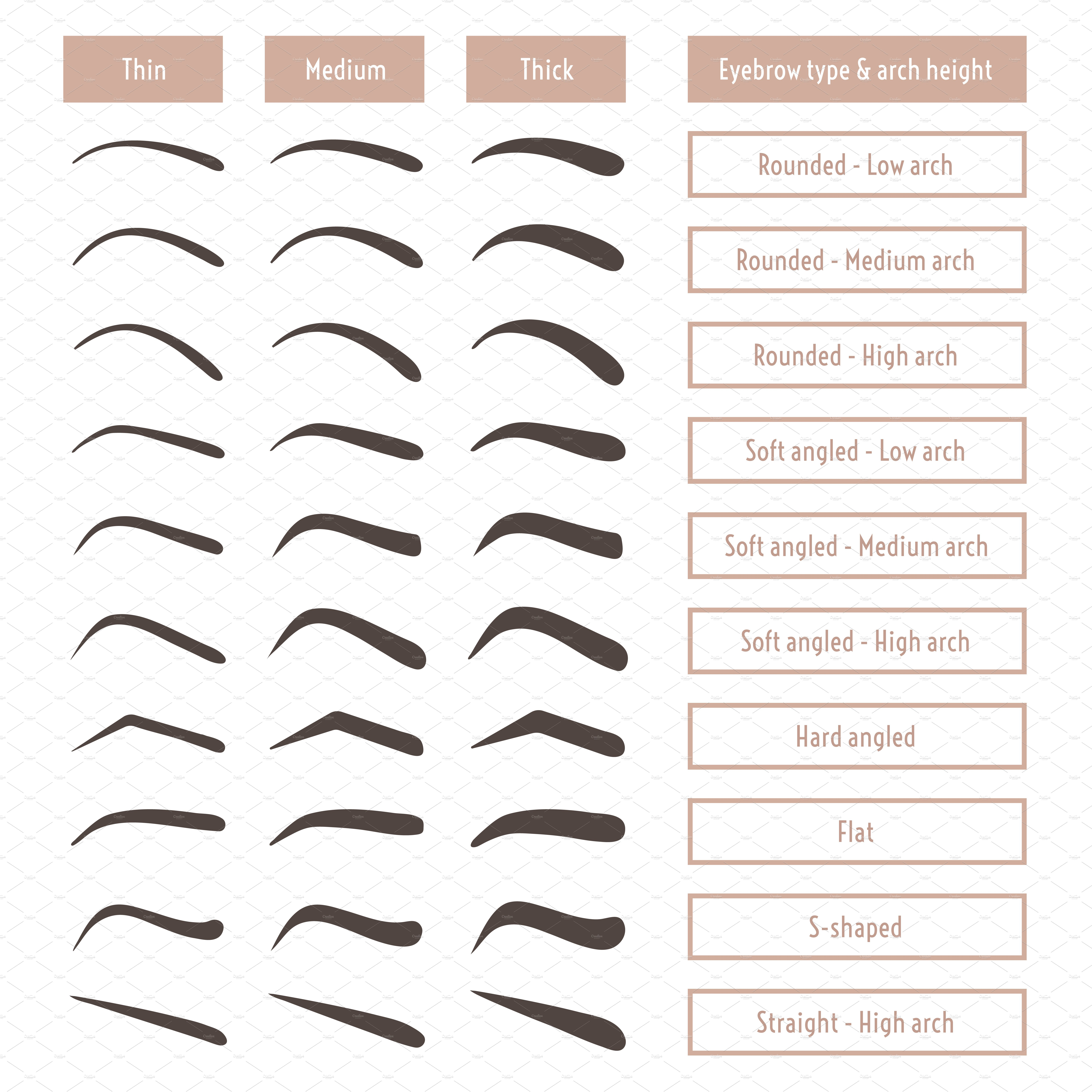 Eyebrow shapes. Various brow types. ~ Graphics ~ Creative ...