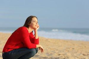 Confident pensive woman