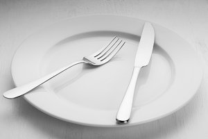 Cutlery on a plate