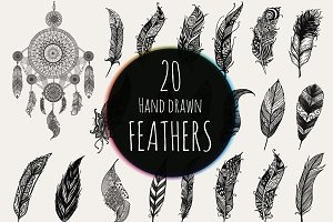 20 Hand drawn feathers