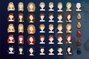 Female trendy hairstyle avatars set