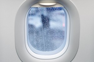 raindrops on airplane window
