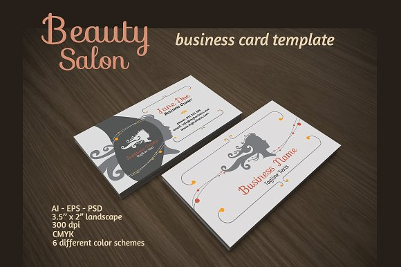 Beauty salon business card business card templates creative market beauty salon business card business cards friedricerecipe Images