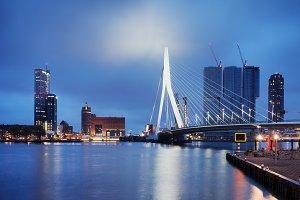 City of Rotterdam Night Skyline