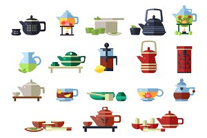 Tea Cup and Kettle Set