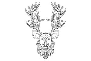 Patterned deer head