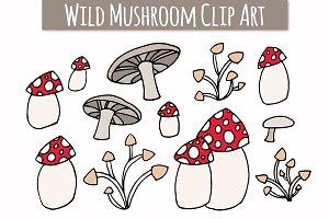 Wild Mushroom Clip Art Set
