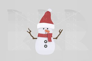 3d illustration. Snowman.