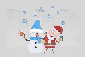 3d illustration. Santa Claus Snowman