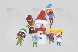 3d illustration. Children Snowman.