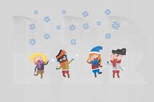 3d illustration. Kids in snow.