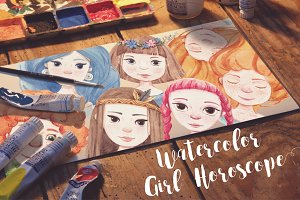 Watercolor girl's horoscope