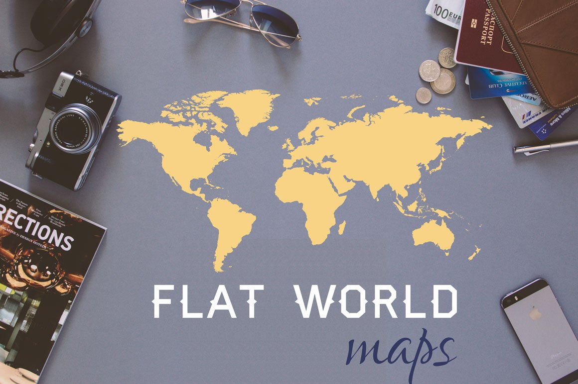 World map flat vector illustrations creative market gumiabroncs Images