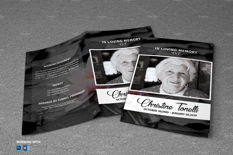Black & White Funeral Program ~ Brochure Templates ~ Creative Market
