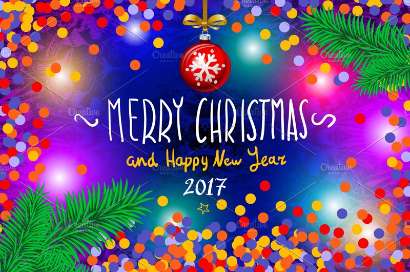 merry christmas happy new year 2017 graphics creative market