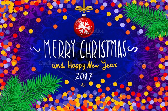 Merry Christmas Happy New Year 2017 ~ Graphics ~ Creative ...