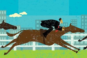 Businessman horse racing