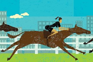 Businesswoman horse racing