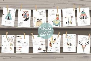 Calendar 2017 in Boho style