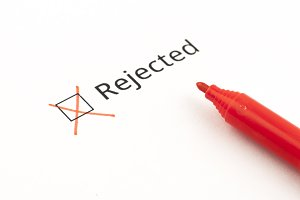 rejected with cross mark