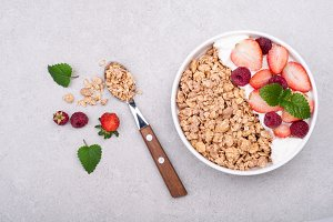 Granola for breakfast with berries
