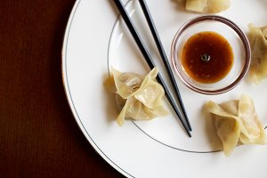 Asian Pork Veggie Dumplings with Soy