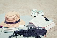 Beach female things and body care
