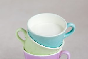 Color cups with milk