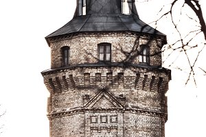 Castle tower isolated on white