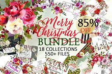 Christmas Watercolor Floral Bundle