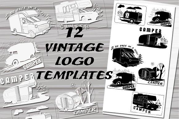 Vintage LogoBadges Camper Logo Templates Creative Market