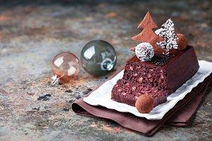Chocolate and nuts Christmas cake