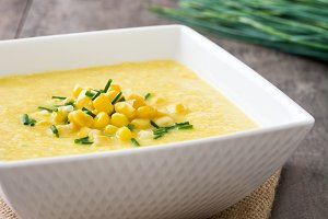 Corn soup in bowl