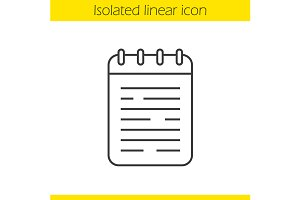 Notebook linear icon. Vector