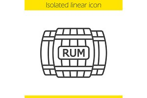 Rum wooden barrels icon. Vector